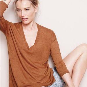 J. Crew V Neck Linen Sweater Size S